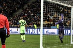 KYIV, UKRAINE - 24 FÉVRIER 2016 : Jeu de ligue de l'UEFA Championes avec la dynamo Kyiv et Manchester City FC Images stock