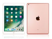 Apple iPad Pro Rose Gold. Kyiv, Ukraine - Fabruary 6, 2018: Brand new Apple iPad Pro Rose Gold isolated on white with clipping path, 7th generation of the iPad stock photos
