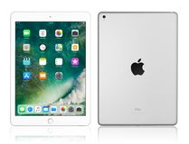Apple iPad Pro Silver. Kyiv, Ukraine - Fabruary 6, 2018: Brand new Apple iPad Pro Silver isolated on white with clipping path, 7th generation of the iPad Royalty Free Stock Photography