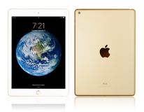 Apple iPad Gold. Kyiv, Ukraine - Fabruary 6, 2018: Brand new white Apple iPad Gold isolated on white with clipping path, 7th generation of the iPad, developed by Royalty Free Stock Photo
