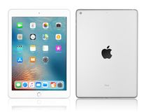 Apple iPad silver. Kyiv, Ukraine - Fabruary 6, 2018: Brand new white Apple iPad Silver isolated on white with clipping path, 7th generation of the iPad Royalty Free Stock Images
