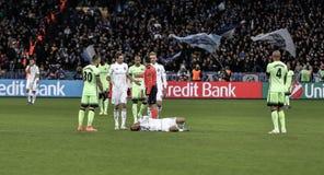 KYIV, UKRAINE - 24. FEBRUAR 2016: Punktspiel UEFA Championes mit Dynamo Kyiv und Manchester City FC Lizenzfreie Stockfotografie