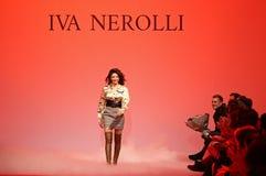 Ukrainian Fashion Week FW18-19: collection by Iva Nerolli. KYIV, UKRAINE - FEBRUARY 5, 2018: Designer Iva Nerolli during her fashion presentation as part of 42nd royalty free stock photos