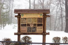 Kyiv, Ukraine - February 03, 2019: Kyiv zoo. The house for insects in winter time.  stock images