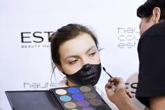 Kyiv, Ukraine - February 8, 2017: Makeup artist at work. Backsta Royalty Free Stock Photos