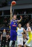 FIBA World Cup 2019 Qualifiers: Ukraine v Sweden. KYIV, UKRAINE - FEBRUARY 26, 2018: Nicholas SPIRES of Sweden L attacks during FIBA World Cup 2019 European royalty free stock photos