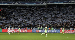 KYIV, UKRAINE - FEBRUARY 24, 2016: UEFA Championes League game with Dynamo Kyiv and  Manchester City FC Stock Photo