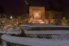 KYIV, UKRAINE: Heydar Aliyev Square in Kiew an einem Winterabend Lizenzfreies Stockfoto