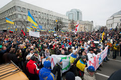 KYIV, UKRAINE: Huge crowd of men and women with different anti-government bunners walking down the street during protest. Huge crowd of men and women with Stock Photos