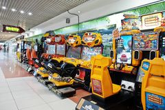 Kyiv, Ukraine - January 16, 2018: Arcade games kids slot machines at trade center royalty free stock images