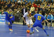 Friendly Futsal game: Ukraine v Spain in Kyiv, Ukraine royalty free stock photo