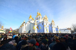 KYIV, UKRAINE – JANUARY 26, 2014. Memorial ceremony Stock Images