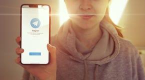 KYIV, UKRAINE-JANUARY, 2020: Telegram on Mobile Phone Screen. Social Media Concept