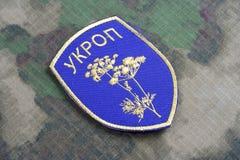 KYIV, UKRAINE - juillet, 16, 2015 Insigne uniforme officieux d'armée de l'Ukraine Image libre de droits