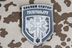 KYIV, UKRAINE - Juli, 08, 2015 Chevron des Ukrainers erbietet Korps freiwillig Lizenzfreie Stockfotos