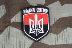 KYIV, UKRAINE - Juli, 08, 2015 Chevron des Ukrainers erbietet Korps freiwillig Stockbild