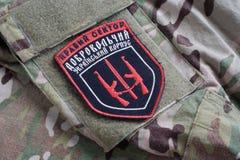 KYIV, UKRAINE - Juli, 08, 2015 Chevron des Ukrainers erbietet Korps mit den Wörtern freiwillig Stockfotos