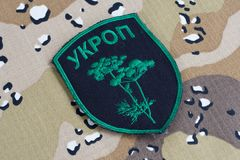 KYIV, UKRAINE - Juli, 08, 2015 Nicht offizieller einheitlicher Ausweis Ukraine-Armee Stockfotografie