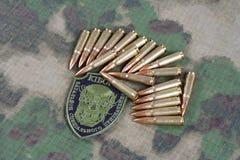 KYIV, UKRAINE - July, 08, 2015. Ukraine Army unofficial uniform badge. `CYBORG`  with military ammunition Royalty Free Stock Photo
