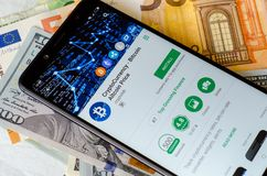 Kyiv, Ukraine- July 12, 2018: CryptoCurrency - Bitcoin v Price - Apps on Google Play on screen Xiaomi Redmi Note 5 stock photography