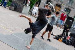 Kyiv, Ukraine - July 14, 2019. Khreshchatyk St. Street dancers. Dance battle. Hip hop culture. Street break dance