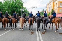 Kyiv, Ukraine - June 23, 2019. March of equality. LGBT march KyivPride. Gay parade. Mounted police on the march