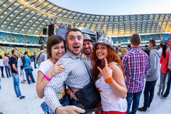 KYIV, UKRAINE - JUNE 21: Cool fans on concert of Okean Elzy on J Stock Photos