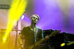 KYIV, UKRAINE - JUNE 21: Denys Dydko bass guitar on concert of O Royalty Free Stock Image