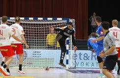 EHF EURO 2020 Qualifiers handball game Ukraine v Denmark. KYIV, UKRAINE - JUNE 12, 2019: Goalkeeper Jannick GREEN KREJBERG of Denmark in action during the EHF stock photography