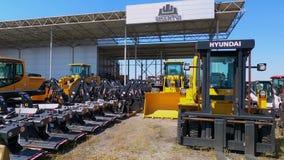 Kyiv, Ukraine - June 16, 2020: Hyundai Excavator and loader at Kyiv, Ukraine on June 16, 2020.