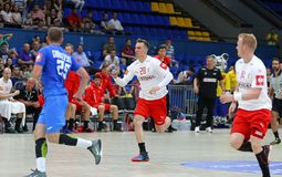 EHF EURO 2020 Qualifiers handball game Ukraine v Denmark. KYIV, UKRAINE - JUNE 12, 2019: Lasse Bredekjaer ANDERSSON of Denmark attacks during the EHF EURO 2020 royalty free stock image