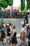 Kyiv, Ukraine - June 23, 2019. March of equality. LGBT march KyivPride. Gay parade. Rows of policemen guard marchers royalty free stock photo