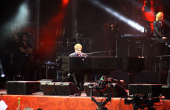 Singer Sir Elton John performs onstage Stock Images