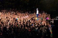 KYIV, UKRAINE - JUNE 21: Svyatoslav Vakarchuk and crowd on conce Stock Photography