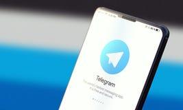 KYIV, UKRAINE-JUNE, 2020: Telegram on Mobile Phone Screen. Social Application Concept