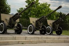 KYIV, UKRAINE - JUNE 1, 2017, Three soviet howitzer weapons standing outside in Second World War museum in Kyiv, Ukraine Royalty Free Stock Images