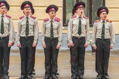 KYIV, UKRAINE, am 26. Mai 2017; Eine Zeremonie zu Ehren des Endes des Schuljahres im Militärlehrsaal von Ivan Bohun Lizenzfreie Stockfotografie