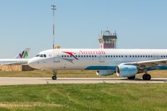 KYIV, UKRAINE - 26 MAI 2018 : Photo d'un avion d'Austrian Airlines, qui est charte et ligne aérienne régulière Est le ressortissa Photographie stock libre de droits