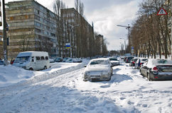 Transport collapse after the abundant snowfall in Kiev Royalty Free Stock Photos