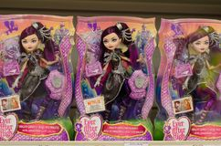 Kyiv, Ukraine - March 24, 2018: Ever After High Dolls for sale in the Supermarket Stand. Ever After High Dolls for sale in the Supermarket Stand royalty free stock photo