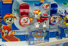 Kyiv, Ukraine - March 24, 2018: PAW Patrol Toys for sale in the Supermarket Stand. PAW Patrol Toys for sale in the Supermarket Stand royalty free stock photo
