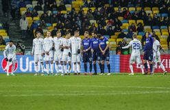 Dynamo Kyiv against SS Lazio. KYIV, UKRAINE - 15 March, 2018: Teams prepare to execute a free-kick during the UEFA Europa League match against SS Lazio at the Stock Image