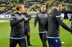 KYIV, UKRAINE - 15 March, 2018: Training of football players Lazio during the UEFA Europa League match between Dynamo Kyiv vs SS stock images