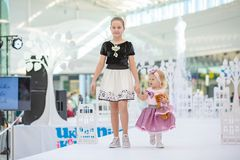 Kyiv, Ukraine March 03.2019. UKFW. Ukrainian Kids Fashion Day. little model defile on the podium at the fashion show. Young models royalty free stock images
