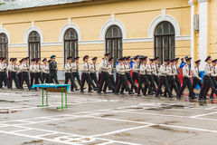KYIV, UKRAINE, May 26, 2017; A ceremony in honor of the end of the school year in the military lyceum of Ivan Bohun. Students of the Kiev military lyceum of Stock Images