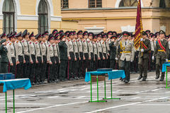 KYIV, UKRAINE, May 26, 2017; A ceremony in honor of the end of the school year in the military lyceum of Ivan Bohun. Royalty Free Stock Image