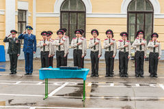 KYIV, UKRAINE, May 26, 2017; A ceremony in honor of the end of the school year in the military lyceum of Ivan Bohun. Students of the Kiev military lyceum of Royalty Free Stock Image