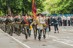KYIV, UKRAINE - May 26, 2017: Ceremony on the occasion of the end of the academic year in the Kiev military lyceum of Ivan Bohun. Stock Photos