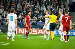 KYIV, UKRAINE - MAY 26, 2018: Footballer during the 2018 UEFA Ch. Ampions League final match between Real Madrid and Liverpool in Kyiv at NSC olimpiyskiy stadium stock photography