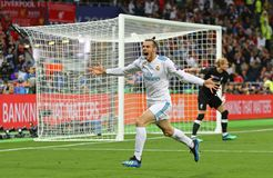 UEFA Champions League Final 2018 Real Madrid v Liverpool. KYIV, UKRAINE - MAY 26, 2018: Gareth Bale of Real Madrid celebrates after scored a goal during the UEFA royalty free stock images